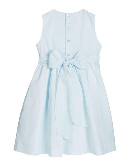 Girl's Blue Smocked Dress, Size 4-6X