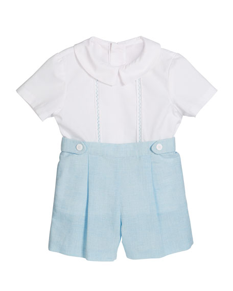 Short-Sleeve Embroidered Top w/ Pleated Linen Shorts, Size 12-24 Months