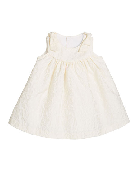 Girl's Ivory Dress with Bow Shoulders, Size 2-4T