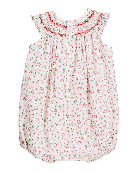 Girl's Cherry Print Smocked Bubble Romper, Size Newborn-9 Months