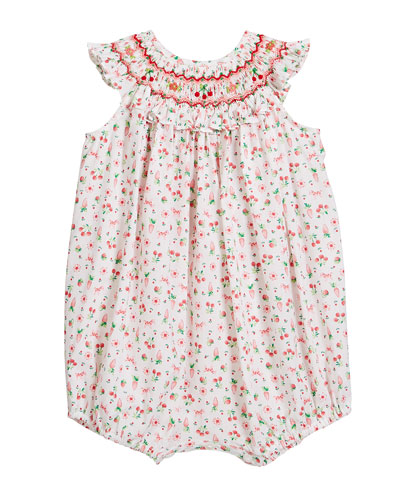 Girl's Cherry Print Smocked Bubble Romper  Size Newborn-9 Months