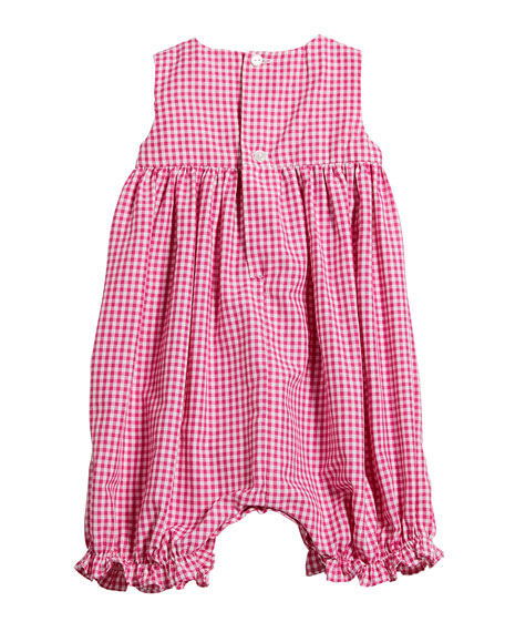 Girl's Gingham Smocked Bubble Playsuit, Size 6-24 Months