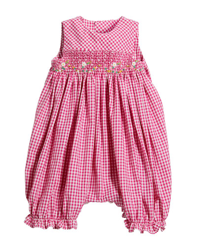 Girl's Gingham Smocked Bubble Playsuit  Size 6-24 Months