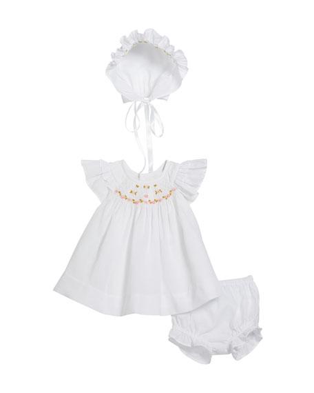 Girl's Flower Embroidered Dress w/ Matching Bloomers & Bonnet, Size Newborn-9 Months