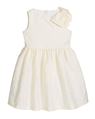 Girl's Ivory Dress with Bow Shoulder  Size 5-6X