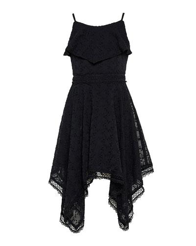 Girl's Savanna Lace-Trim Handkerchief Dress  Size 7-16