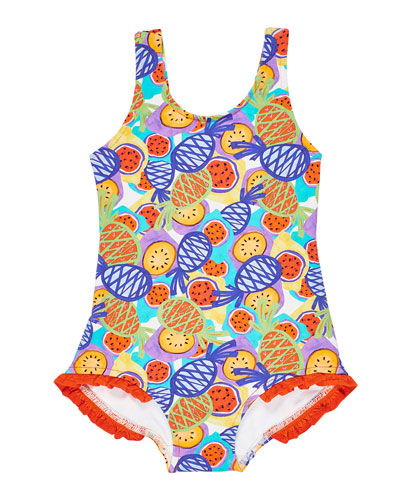 Girl's Multicolor Tropical-Print One-Piece Tank Swimsuit  Size 2-6X