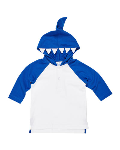 Boy's Knit Hooded Coverup with Shark Teeth  Size 6-24 Months