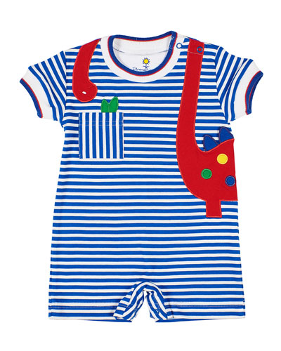 Stripe Knit Shortall w/ Dinosaur Applique  Size 3-18 Months