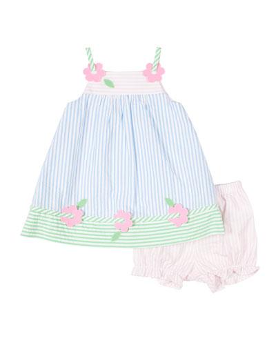 Multi Pastel Striped Seersucker Dress w/ Bloomers  Size 3-24 Months