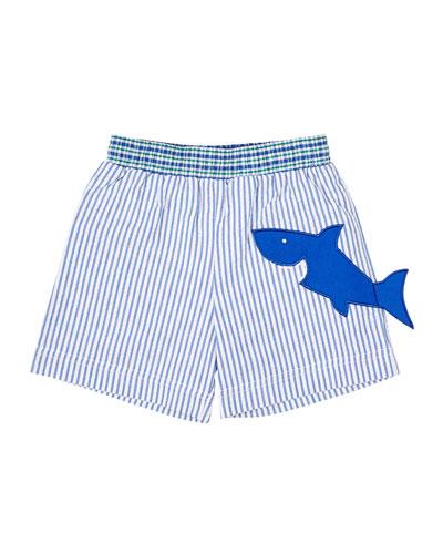 Boy's Striped Seersucker Swim Trunks w/ Shark  Size 4T-3