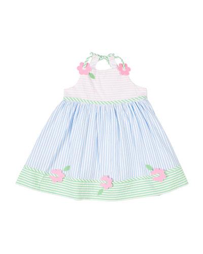 Multi Pastel Striped Seersucker Dress w/ Flowers  Size 4T-3
