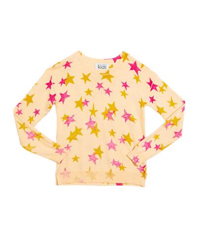 Girl's Inked Star-Print Drop Shoulder Top  Size 8-16