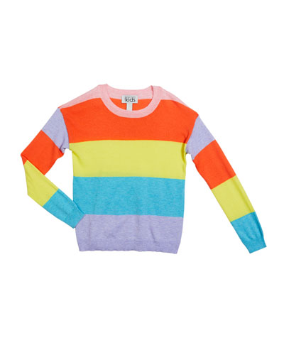 Girl's Striped Crewneck Sweater  Size 8-16