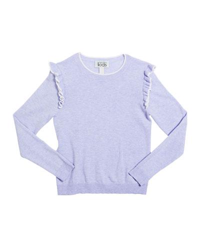 Girl's Ruffle-Trim Crewneck Sweater  Size 8-16