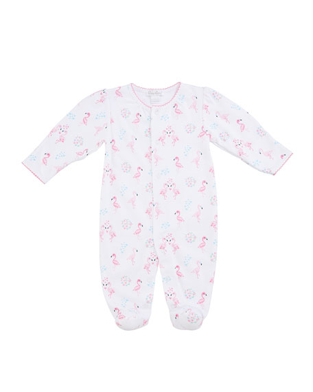 Flowering Flamingos Printed Footie Playsuit, Size Newborn-9 Months