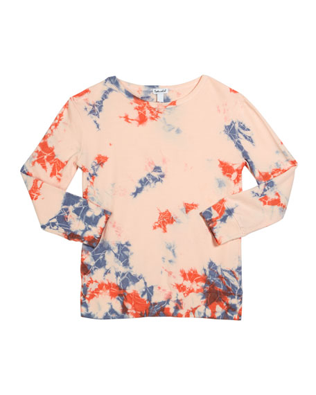 Image 1 of 1: Girl's Seaside Tie Dyed French Terry Top, Size 7-14