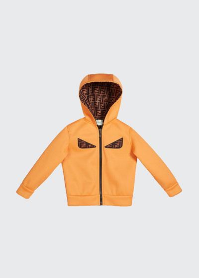 Boy's Reversible Hooded Logo Jacket with Eyes  Size 4-6
