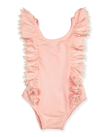 Image 1 of 1: Girl's Ruffle Crochet Trim One-Piece Swimsuit, Size 3-24 Months