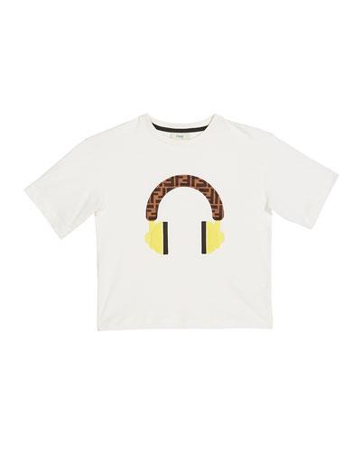 Boy's Short-Sleeve Logo Headphone T-Shirt  Size 4-6  White