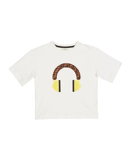 Boy's Short-Sleeve Logo Headphone T-Shirt, Size 4-6, White