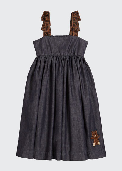 Girl's Chambray FF-Trim Sleeveless Dress  Size 8-14