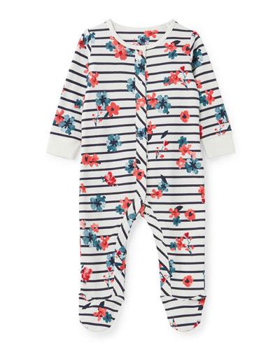 Razamataz Floral Stripe Footie Pajamas, Size 0-12 Months