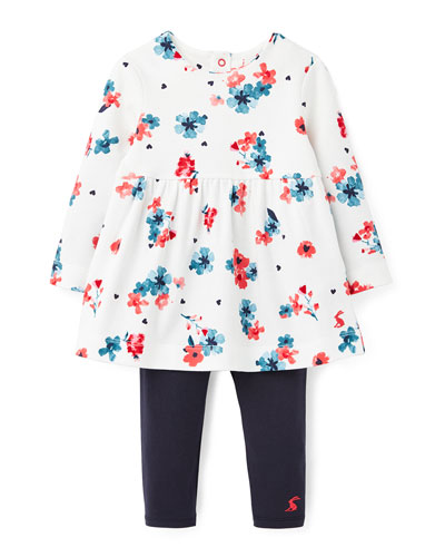 Girl's Christina Floral Long-Sleeve Dress w/ Solid Leggings, Size 3-24 Months