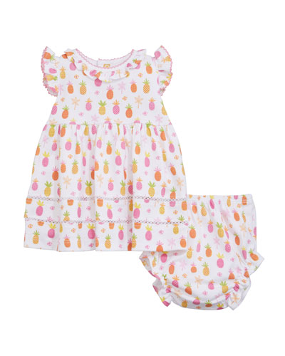 Prismatic Pineapples Printed Dress w/ Matching Bloomers  Size 6-24 Months