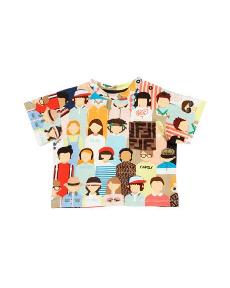 Boy's Allover People Print Tee w/ FF Logo Pocket, Size 12-24 Months