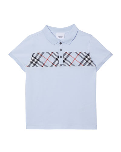 Boy's Jeff Contrasting Polo w/ Check Chest  Size 3-14