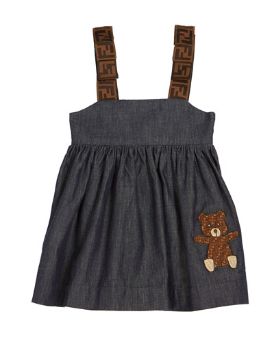 Girl's Chambray FF-Trim Sleeveless Dress  Size 12-24 Months