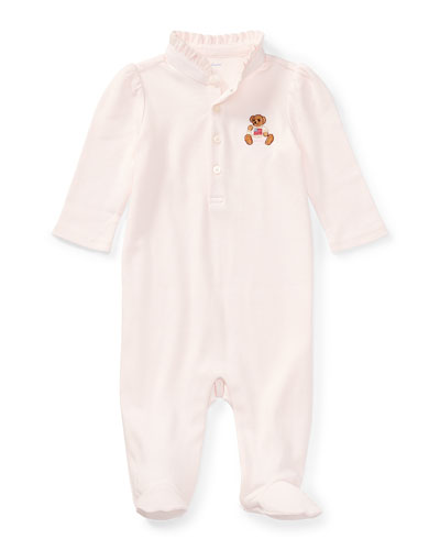 Interlock Knit Footed Ruffle Collar Coverall  Size 3-9 Months
