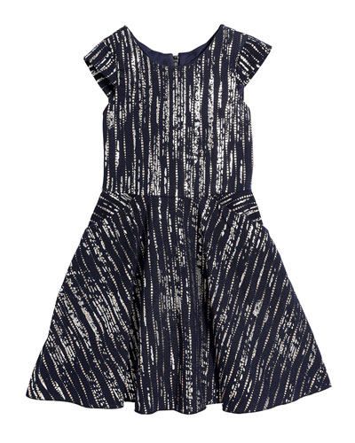 Girl's Bailey Metallic Printed Knit Pocket Dress  Size 7-16