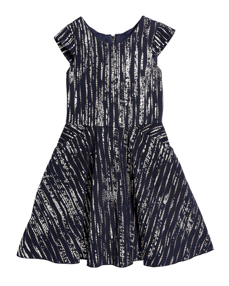 Girl's Bailey Metallic Printed Knit Pocket Dress, Size 7-16