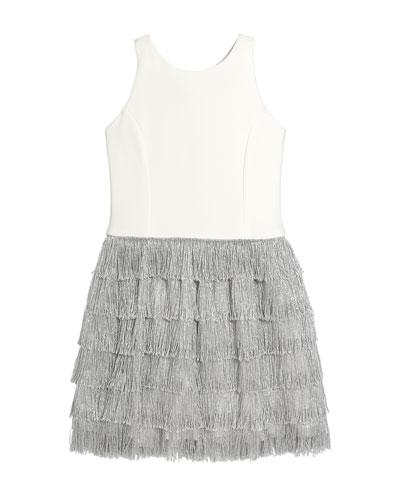 Girl's Jessie Stretch Knit Dress w/ Metallic Fringe Skirt  Size 7-16