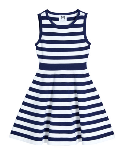 Girl's Striped Knit Fit-and-Flare Dress  Size 7-16