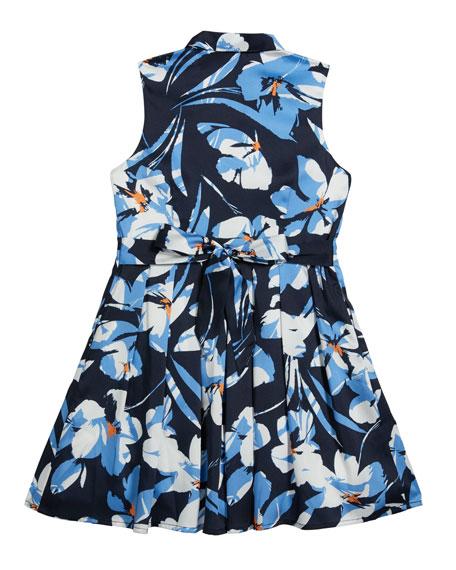 Girl's Hibiscus Print Twill Shirt Dress, Size 7-16