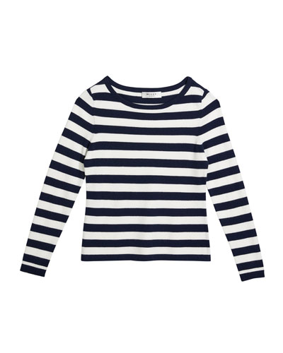 Girl's Striped Boat-Neck Long-Sleeve Top  Size 10-16