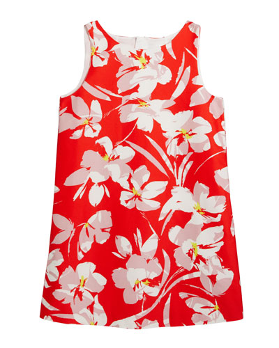 Girl's Faille Hibiscus Print Angular Shift Dress  Size 7-16