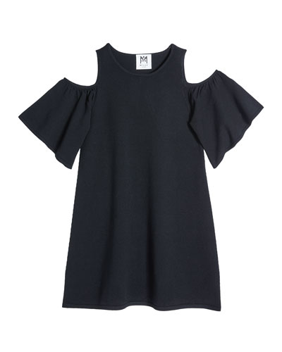 Girl's Flutter-Sleeve Knit Dress  Size 7-16