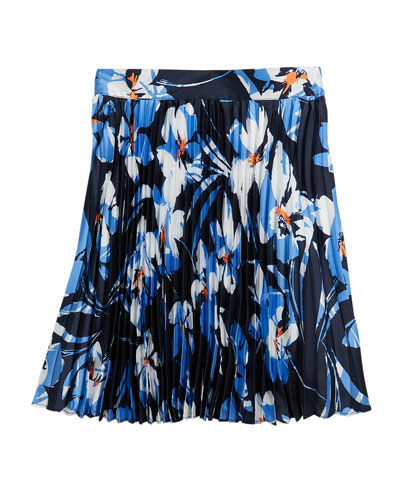 Girl's Hibiscus Print Pleated Twill Skirt  Size 7-16