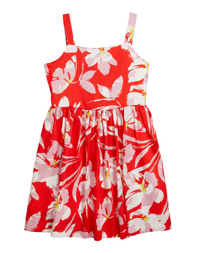 Girl's Emaline Twill Hibiscus Print Sleeveless Dress  Size 7-16