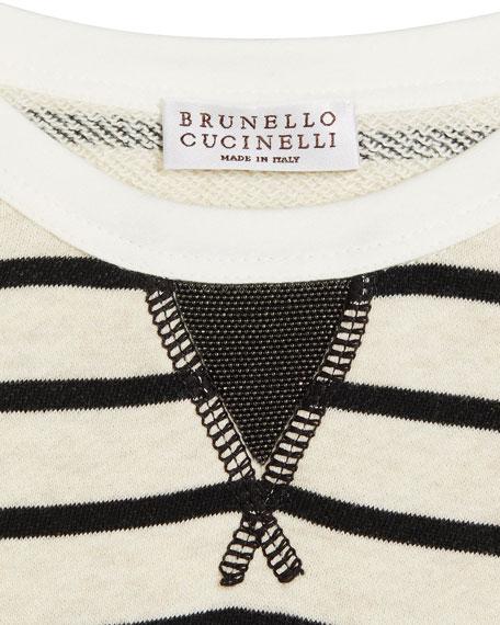Girl's Felpa Stripe Long-Sleeve Cotton Dress, Size 12-14