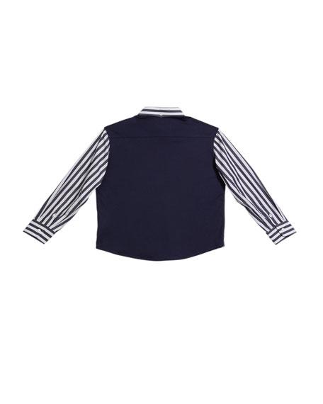 Boy's Striped Button-Down Shirt, Size 4-6