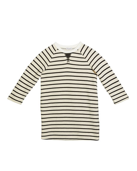 Girl's Felpa Stripe Long-Sleeve Cotton Dress, Size 8-10