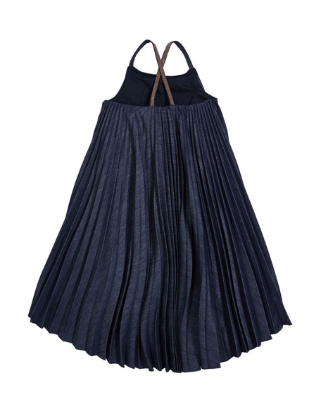 Girl's Denim Plisse Dress with Monili Straps, Size 12-14