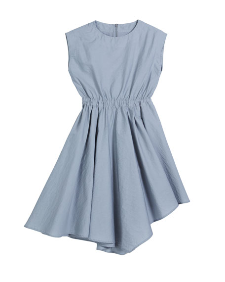 Girl's Cinched-Waist Asymmetrical Poplin Dress, Size 8-10