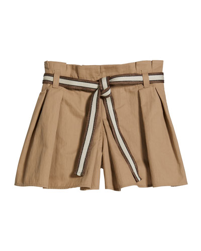 Girl's Crispy Cotton Pleated Skort w/ Monili Belt  Size 8-10