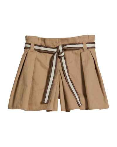 Girl's Crispy Cotton Pleated Skort w/ Monili Belt  Size 12-14